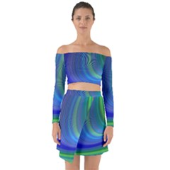 Space Design Abstract Sky Storm Off Shoulder Top With Skirt Set