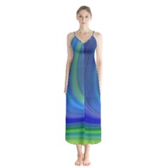 Space Design Abstract Sky Storm Button Up Chiffon Maxi Dress