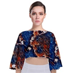 Wow Art Brave Vintage Style Tie Back Butterfly Sleeve Chiffon Top by Sapixe