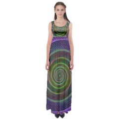 Spiral Fractal Digital Modern Empire Waist Maxi Dress