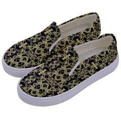 Golden Ornate Intricate Pattern Kids  Canvas Slip Ons by dflcprints