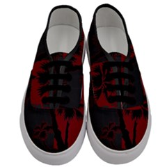 Red And Grey Silhouette Palm Tree Men s Classic Low Top Sneakers