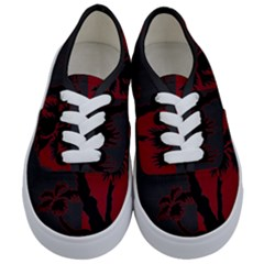 Red And Grey Silhouette Palm Tree Kids  Classic Low Top Sneakers