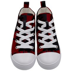 Red And Grey Silhouette Palm Tree Kid s Mid Top Canvas Sneakers