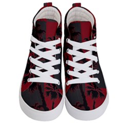 Red And Grey Silhouette Palm Tree Kid s Hi-top Skate Sneakers