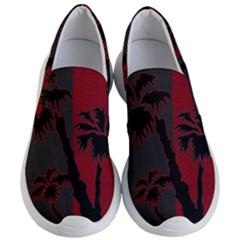 Red And Grey Silhouette Palm Tree Women s Lightweight Slip Ons