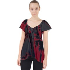 Red And Grey Silhouette Palm Tree Lace Front Dolly Top