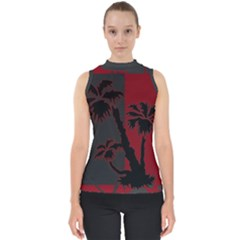 Red And Grey Silhouette Palm Tree Mock Neck Shell Top