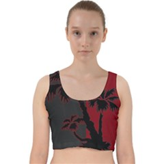 Red And Grey Silhouette Palm Tree Velvet Racer Back Crop Top