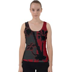 Red And Grey Silhouette Palm Tree Velvet Tank Top