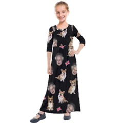 Queen Elizabeth s Corgis Pattern Kids  Quarter Sleeve Maxi Dress by Valentinaart
