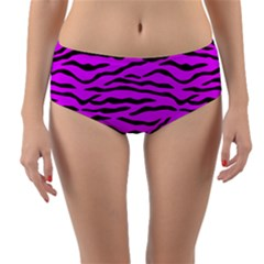 Hot Neon Pink And Black Tiger Stripes Reversible Mid Waist Bikini Bottoms by PodArtist