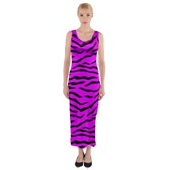 Hot Neon Pink And Black Tiger Stripes Fitted Maxi Dress