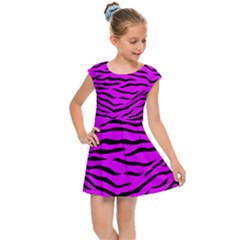 Hot Neon Pink And Black Tiger Stripes Kids Cap Sleeve Dress by PodArtist