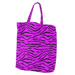 Hot Neon Pink And Black Tiger Stripes Giant Grocery Zipper Tote