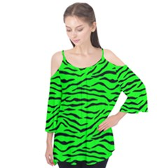 Bright Neon Green And Black Tiger Stripes  Flutter Tees