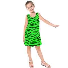 Bright Neon Green And Black Tiger Stripes  Kids  Sleeveless Dress