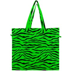 Bright Neon Green And Black Tiger Stripes  Canvas Travel Bag by PodArtist