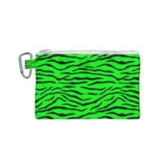 Bright Neon Green And Black Tiger Stripes  Canvas Cosmetic Bag (small) by PodArtist
