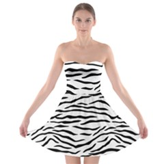 Black And White Tiger Stripes Strapless Bra Top Dress
