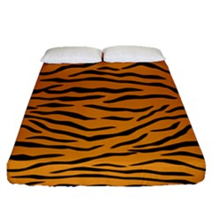 Orange And Black Tiger Stripes Fitted Sheet (queen Size) by PodArtist