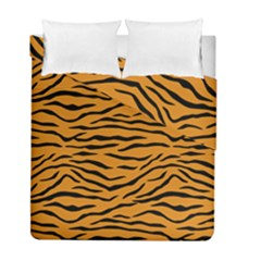 Orange And Black Tiger Stripes Duvet Cover Double Side (full/ Double Size) by PodArtist