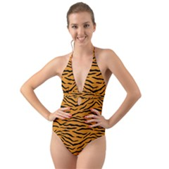 Orange And Black Tiger Stripes Halter Cut-out One Piece Swimsuit by PodArtist