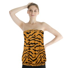 Orange And Black Tiger Stripes Strapless Top by PodArtist