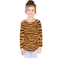 Orange And Black Tiger Stripes Kids  Long Sleeve Tee by PodArtist