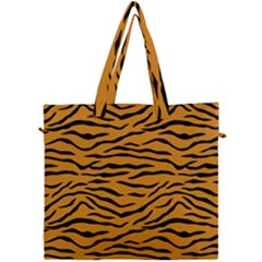 Orange And Black Tiger Stripes Canvas Travel Bag by PodArtist