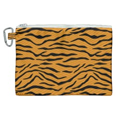Orange And Black Tiger Stripes Canvas Cosmetic Bag (xl) by PodArtist