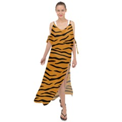 Orange And Black Tiger Stripes Maxi Chiffon Cover Up Dress