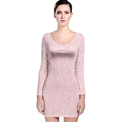 Elios Shirt Faces In White Outlines On Pale Pink Cmbyn Long Sleeve Velvet Bodycon Dress by PodArtist
