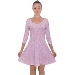 Elios Shirt Faces In White Outlines On Pale Pink Cmbyn Quarter Sleeve Skater Dress by PodArtist