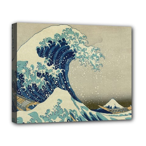 The Classic Japanese Great Wave Off Kanagawa By Hokusai Deluxe Canvas 20  X 16   by PodArtist