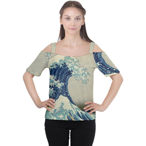 The Classic Japanese Great Wave Off Kanagawa By Hokusai Cutout Shoulder Tee by PodArtist