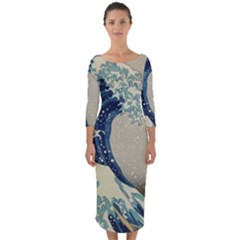 The Classic Japanese Great Wave Off Kanagawa By Hokusai Quarter Sleeve Midi Bodycon Dress by PodArtist