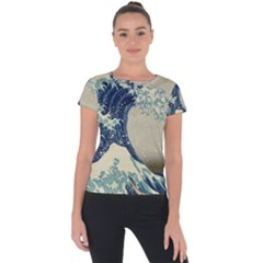 The Classic Japanese Great Wave Off Kanagawa By Hokusai Short Sleeve Sports Top  by PodArtist