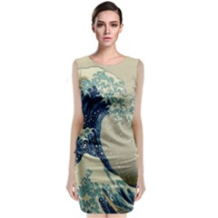 The Classic Japanese Great Wave Off Kanagawa By Hokusai Sleeveless Velvet Midi Dress by PodArtist