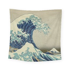The Classic Japanese Great Wave Off Kanagawa By Hokusai Square Tapestry (small) by PodArtist