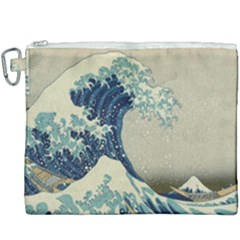 The Classic Japanese Great Wave Off Kanagawa By Hokusai Canvas Cosmetic Bag (xxxl) by PodArtist