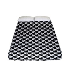 Black And White Checkerboard Weimaraner Fitted Sheet (full/ Double Size) by PodArtist
