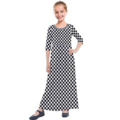 Black And White Checkerboard Weimaraner Kids  Quarter Sleeve Maxi Dress