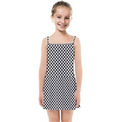 Black And White Checkerboard Weimaraner Kids Summer Sun Dress by PodArtist