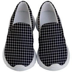 Black And White Optical Illusion Dots And Lines Kid s Lightweight Slip Ons