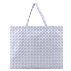 Alice Blue Quatrefoil In An English Country Garden Zipper Large Tote Bag