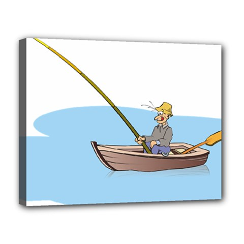 Fishing Fish Fisherman Boat Mare Canvas 14  X 11  by Sapixe