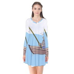 Fishing Fish Fisherman Boat Mare Long Sleeve V Neck Flare Dress by Sapixe