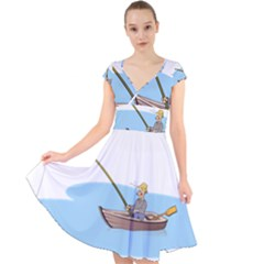 Fishing Fish Fisherman Boat Mare Cap Sleeve Front Wrap Midi Dress