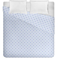 Alice Blue Quatrefoil In An English Country Garden Duvet Cover Double Side (king Size) by PodArtist
